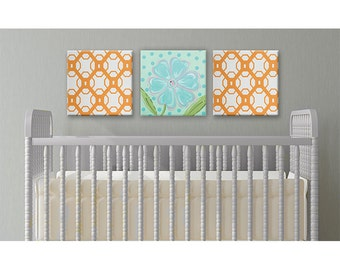modern kids art  - aqua and orange nursery - teen room - modern pattern- unique kids wall art- kids bathroom- wall hanging