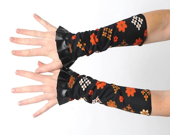 Long ruffled cuffs, Black and orange floral jersey cuffs with black pleather ruffle, Womens accessories, Gift for her, MALAM