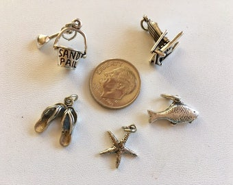 Sterling Silver Beach Charms-Sterling Silver Charm Lot 7