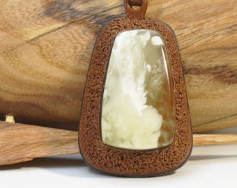 Baltic amber, leather, pendant, real amber