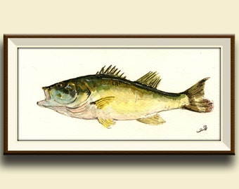 PRINT-Black bass fish game fishing print from original watercolor painting - Art Print by Juan Bosco