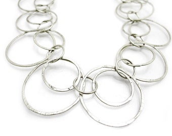 Silver Loop Necklace - Long Silver Hammered Necklace - Silver Hoop Necklace - Silver Loops Link Necklace - Hammered Necklace - Silver Chain