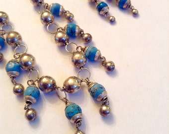 Necklace Earring Set  Silver and Turquoise Beads Collectible