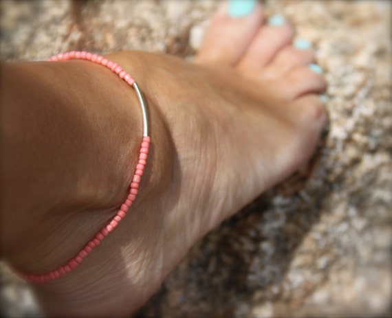 Women's Gift Beaded Stretch Anklet Bridesmaid Coral Ankle Bracelet Boho Weddings Beach Lover Stack Bracelet Friendship Mothers Day Gifts