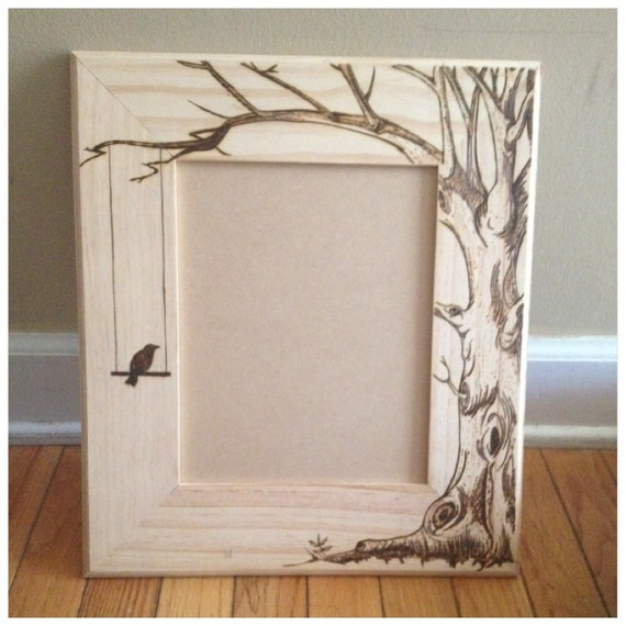 wood burned picture frame do custom orders too lovebirds tree heart theme available too - Wood Burning Picture Frame