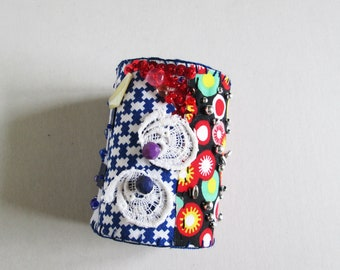 Fabric Cuff Bracelet, Recycled Cuff, Casual Accessory, Textile Bracelet, Handmade Accessories, Bohemian, Vintage, Style