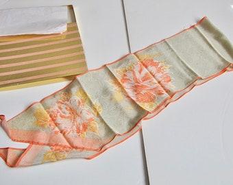 Vintage Evan Picone Silk Scarf, Silk Scarf, Long Silk Scarf, I Magnin Scarf, Floral Scarf, Orange, gold, Unused, with box, Evan Picone,
