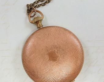 Pocket Watch Locket Pendant Necklace Vintage Brass Locket Round Large Locket Victorian Downton Abbey Boho