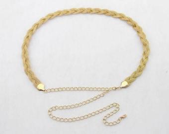Womens Damen Gold geflochtener Gürtel Taille Kette - mit Charme - Mode Gürtel - 87 - Gold