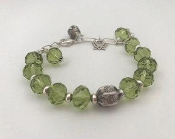 Zinnia Springtime Green Crystal & Sterling Silver Bracelet