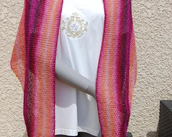 Handmade with a fancy stitch knitted shawl