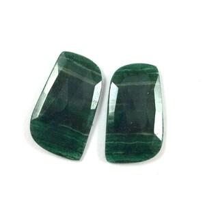 Green jade faceted gemstone 20x33mm