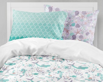 Mermaid Bedding, Purple Teal Bedding, Mermaid Girl Room, Ocean Bedding Set,  Mermaid Duvet Cover, Bedding Sets Kids, Twin Size Duvet
