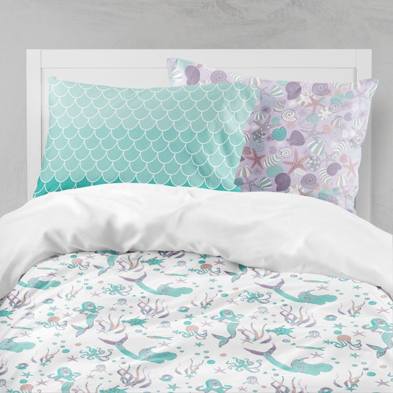 Mermaid Bedding Purple Teal Bedding Mermaid Girl Room Ocean