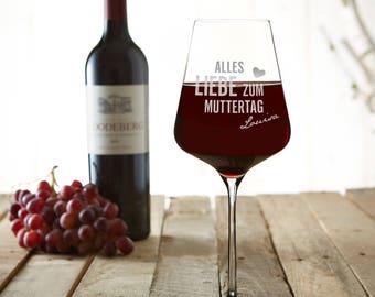 Weinglas mit Gravur - Muttertag - Rotweinglas - personalisiert - Wunschname