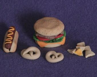 Hamburger & hotdog doll food for american girl doll