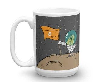 Bitcoin Astronaut To The Moon Coffee Tea Mug Cup 15oz