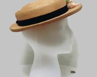 RESERVED: Vintage 1940s or 1950s Straw Tilt Hat, Pancake Hat, Boater Hat, Mini Sailor Hat, Smart Shop Houston