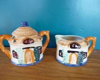 Cute Novelty Thatched Hut Sugar and Creamer Set
