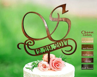s cake topper, rustic monogram cake topper wedding, date wedding cake toppers, wooden cake topper, cake topper s, cake topper wood, CT#292