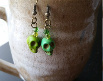 Green sugar skull Swarovski earrings