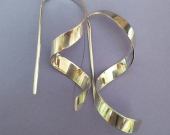 Sterling silver, hand forged earrings