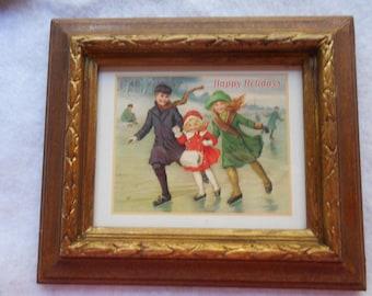 Vintage Christmas print framed
