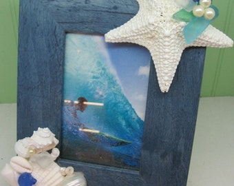 Beach Decor Seashell Frame - Shell Frame - Starfish Frame - Coastal Home Decor - Seashells