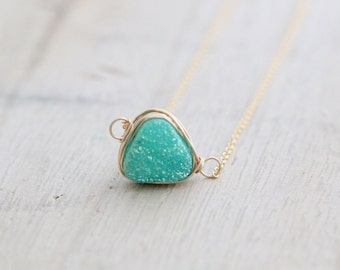 Druzy Triangle Necklace, Mint Green Bezel Wrapped Necklace in Gold, Rose Gold, Sterling Silver - Buttermint