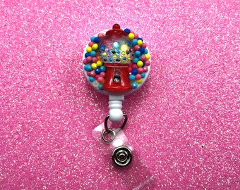 Fake Candy Sweets Gumball Bubblegum Machine Kawaii Pastel Badge Reel Retractable ID Clip Name Tag Holder Nurse CNA Technician Medical