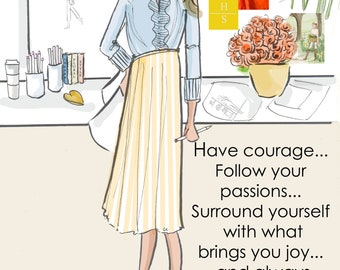 Have Courage and Follow Your Passions The Yellow Poppy - Heather Stillufsen - Weekend -  Wall Art for Women