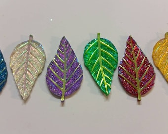 Glittery Leaves Needle Minder