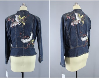Embroidered Denim Jacket / Asian Cranes Birds Embroidery Jean Jacket / Cherry Blossom Floral / Peplum Jacket / Military Style / Large L XL