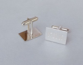 Personalized Rectangle Wedding Cufflinks, Custom Anniversary Date Cufflinks,Engraved Cufflinks,Bride and Groom Initials Groomsman Gift