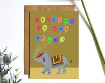 New Baby Elephant  Card, Welcome To The World, Illustrated by Hutch Cassidy