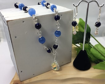 Feeling Blue? Brighten up your blues with this necklace and marching earrings set.