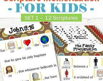 12 Scriptures for Kids to Memorize - Set 1 - INSTANT DOWNLOAD