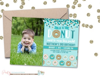 Donut Birthday Invitation, Donut Party Birthday Invitation, Donut Invitation, Teal Birthday Invitation, Donut Birthday Party, Donut Invite