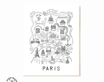 Paris City Map Art Print - Black & White