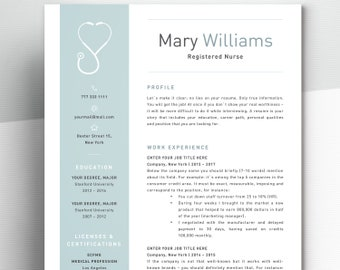 Nurse Resume Template For Word | Medical Resume Word Nurse CV Template  Doctor Resume RN Resume