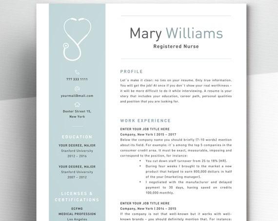 Nurse Resume Template For Word | Medical Resume Word Nurse CV Template  Doctor Resume RN Resume (Registered Nurse Resume) CV Medical Cv Cna