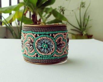 Peach Gold Bracelet/Sea Green Beaded Bracelet/Brass Cuff Bracelet/Trendy Bracelet/Wedding  Bracelet/Bridal Cuff Bracelet.