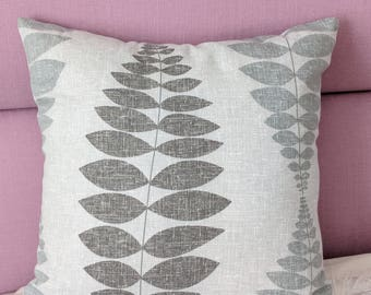 """Grey  Cushion Cover With Leaves. Decorative Pillow Fits an 18""""x18"""" pillow insert."""