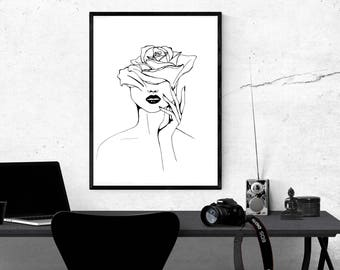 Modern, Minimal, Line, Drawing, Woman, Botanical, Rose, Art, Print