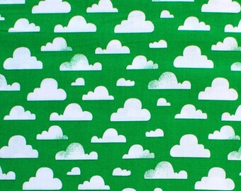 Cloudy Michael Miller 100% Cotton Fabric Green clouds cx7038 FQ 1/2 Full Metre