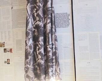 vintage dress, long dress, romantic, black, white, grey, size M, S, 10, 8, 38, 80s, 90s, French, pattern, prom dress,  frock, vintage