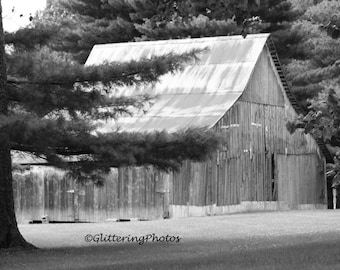 Weathered Barn, Hall Indiana, Morgan County Indiana, Fine Art Photography, Rural Photograph, Black and White, Indiana Art, Barn Photography