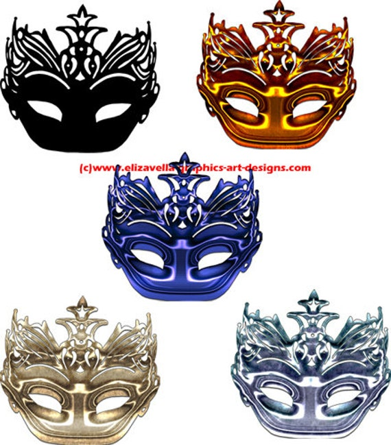 five colors metallic black silhouette mardi gras mask clipart PNG files Digital Image Download clip art graphics craft printables