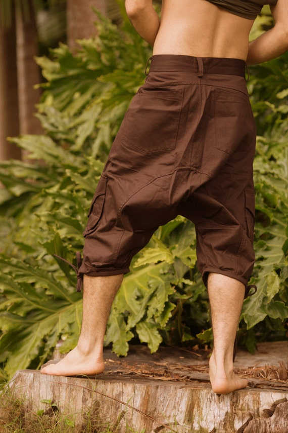 Shantaraam Yoga Ali Baba (Black) - Festival Clothing Men Shorts Pants Bohemian Thin Fabric Stylish Psytrance Party Comfortable Loose Boho VA18IbShtX