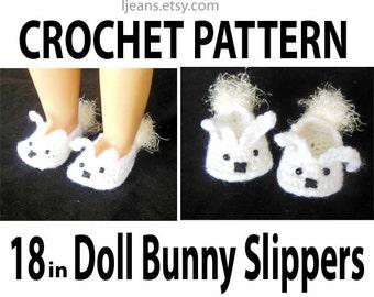 18 in Doll Crochet Bunny Slippers Pattern.